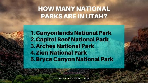 how many national parks are in utah name them